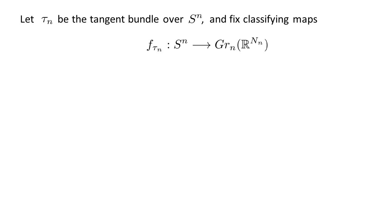 Let be the tangent bundle over, and fix classifying maps If then, where Thus, Extend separately but not compatibly