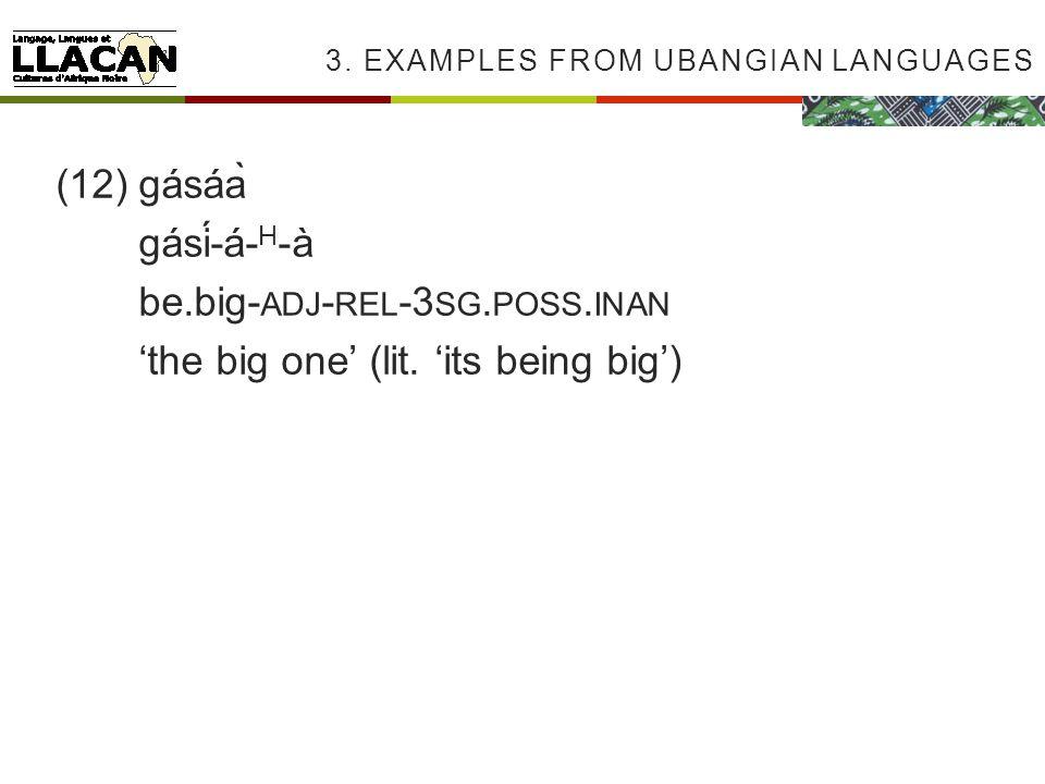 3. EXAMPLES FROM UBANGIAN LANGUAGES (12)gásáà gásí-á- H -à be.big- ADJ - REL -3 SG.