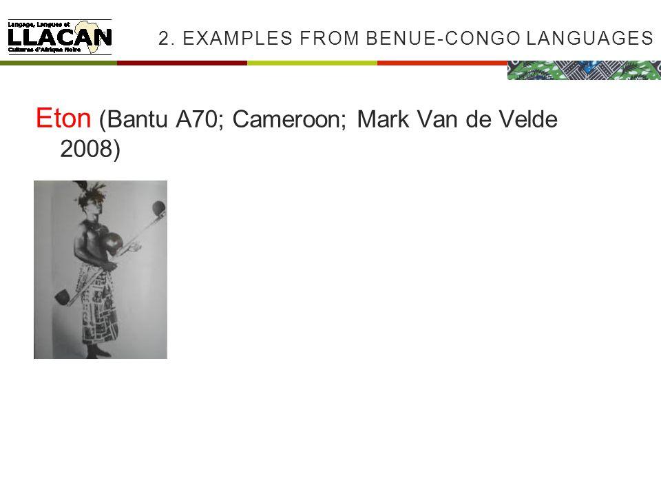 2. EXAMPLES FROM BENUE-CONGO LANGUAGES Eton (Bantu A70; Cameroon; Mark Van de Velde 2008)