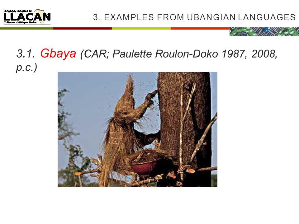 3. EXAMPLES FROM UBANGIAN LANGUAGES 3.1. Gbaya (CAR; Paulette Roulon-Doko 1987, 2008, p.c.)