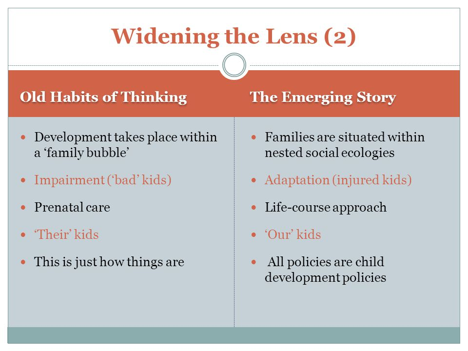 Old Habits of Thinking The Emerging Story Development takes place within a 'family bubble' Impairment ('bad' kids) Prenatal care 'Their' kids This is just how things are Families are situated within nested social ecologies Adaptation (injured kids) Life-course approach 'Our' kids All policies are child development policies Widening the Lens (2)
