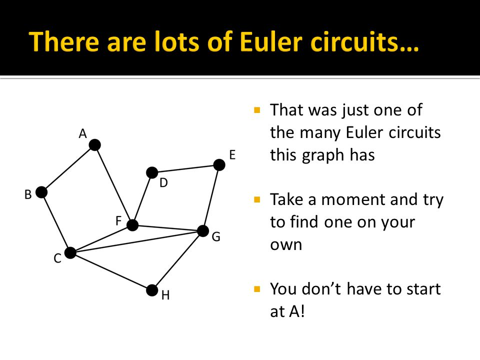  That was just one of the many Euler circuits this graph has  Take a moment and try to find one on your own  You don't have to start at A!