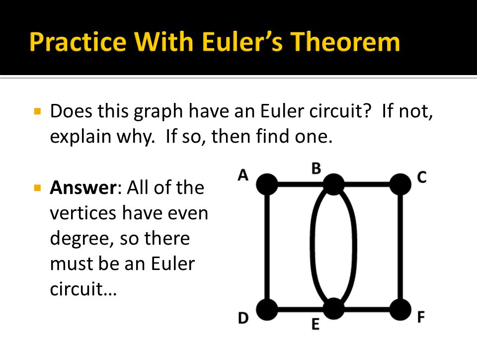  Answer: All of the vertices have even degree, so there must be an Euler circuit…