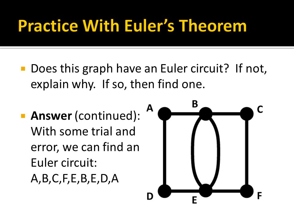  Does this graph have an Euler circuit. If not, explain why.