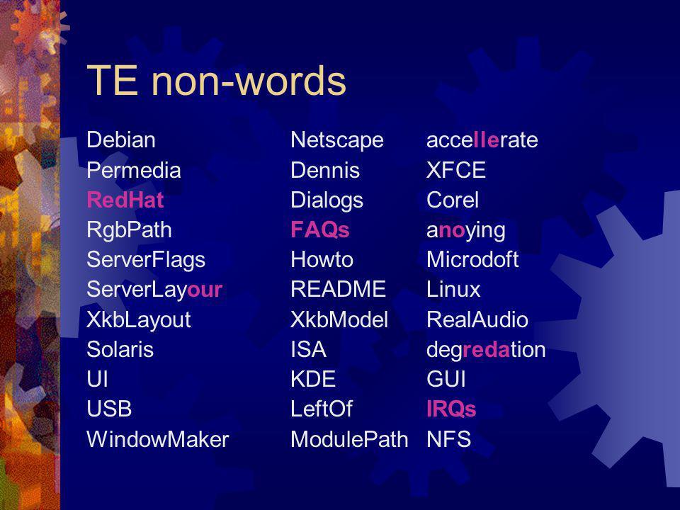 TE non-words DebianNetscapeaccellerate PermediaDennisXFCE RedHatDialogsCorel RgbPathFAQsanoying ServerFlagsHowtoMicrodoft ServerLayourREADMELinux XkbLayoutXkbModelRealAudio SolarisISAdegredation UI KDEGUI USB LeftOfIRQs WindowMakerModulePathNFS