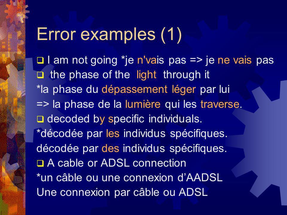 Error examples (1)  I am not going *je n vais pas => je ne vais pas  the phase of the light through it *la phase du dépassement léger par lui => la phase de la lumière qui les traverse.