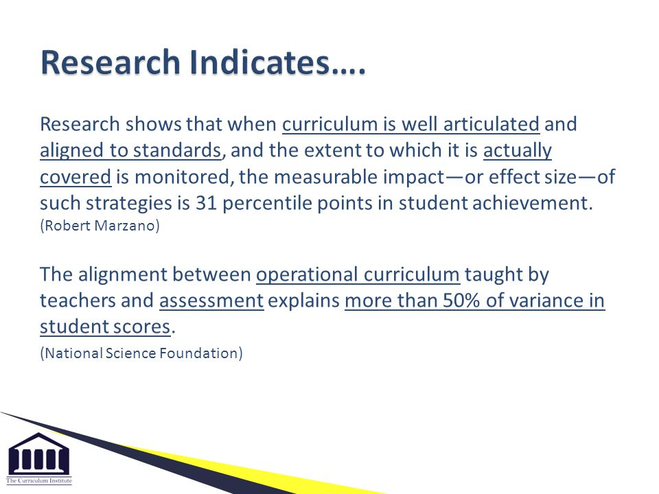 Research shows that when curriculum is well articulated and aligned to standards, and the extent to which it is actually covered is monitored, the mea
