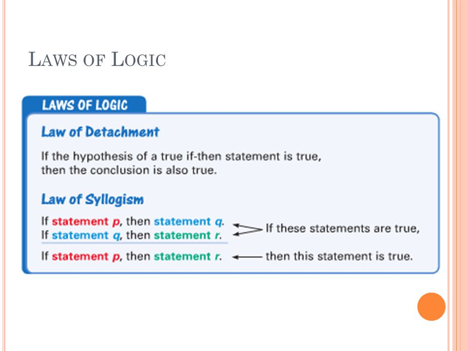 Checkpoint Use the Law of Syllogism Write the statement that follows from the pair of true statements.