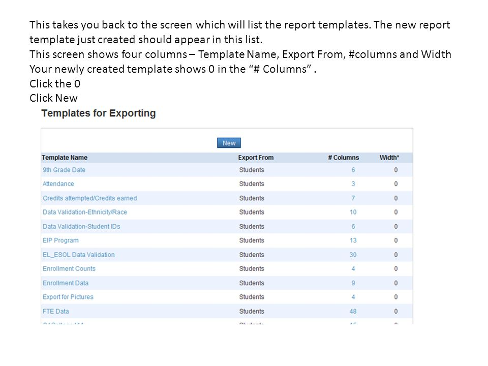 This takes you back to the screen which will list the report templates. The new report template just created should appear in this list. This screen s