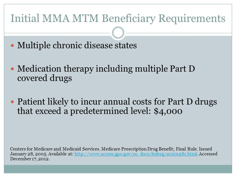 Initial MMA MTM Beneficiary Requirements Multiple chronic disease states Medication therapy including multiple Part D covered drugs Patient likely to