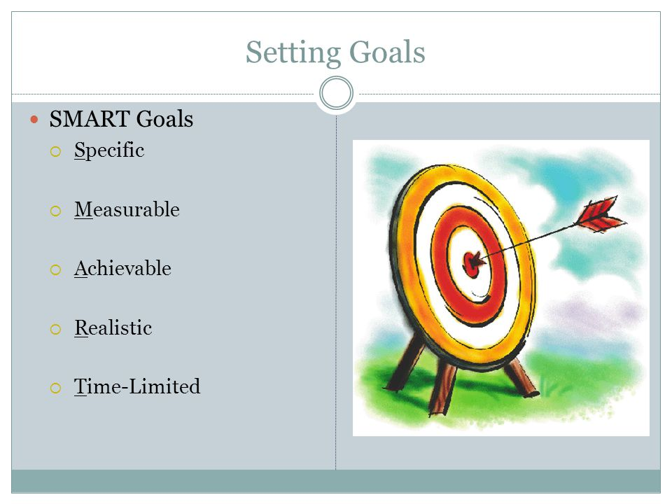 Setting Goals SMART Goals  Specific  Measurable  Achievable  Realistic  Time-Limited