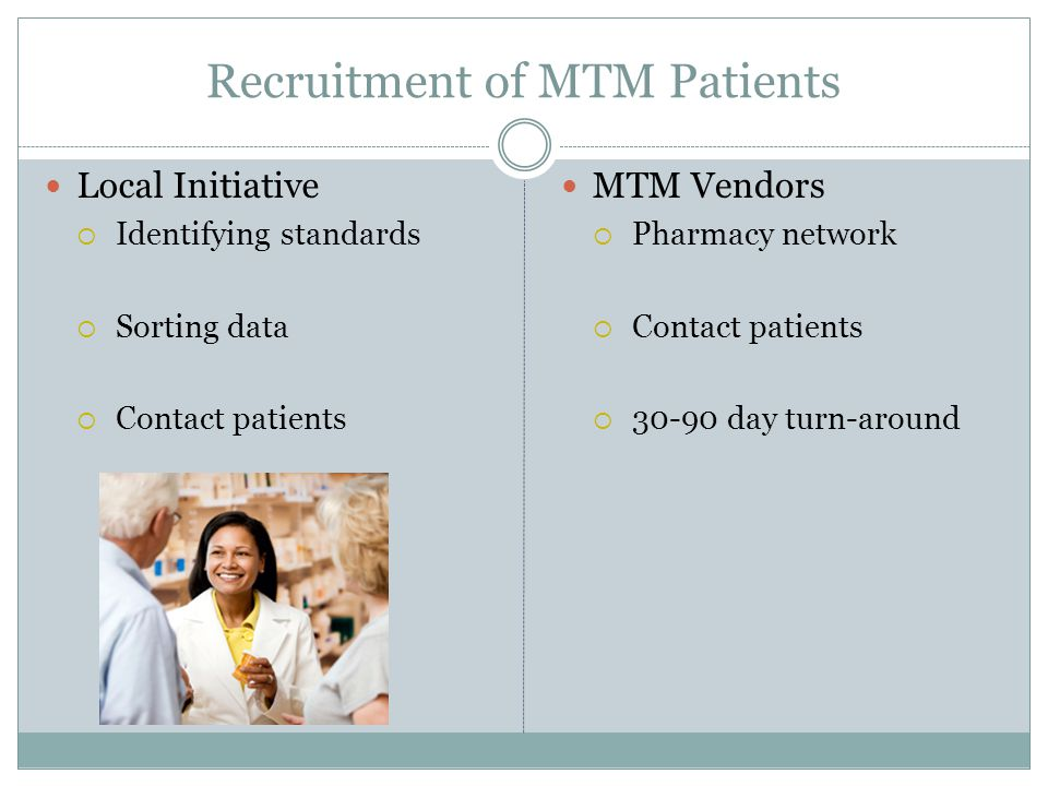Recruitment of MTM Patients Local Initiative  Identifying standards  Sorting data  Contact patients MTM Vendors  Pharmacy network  Contact patien