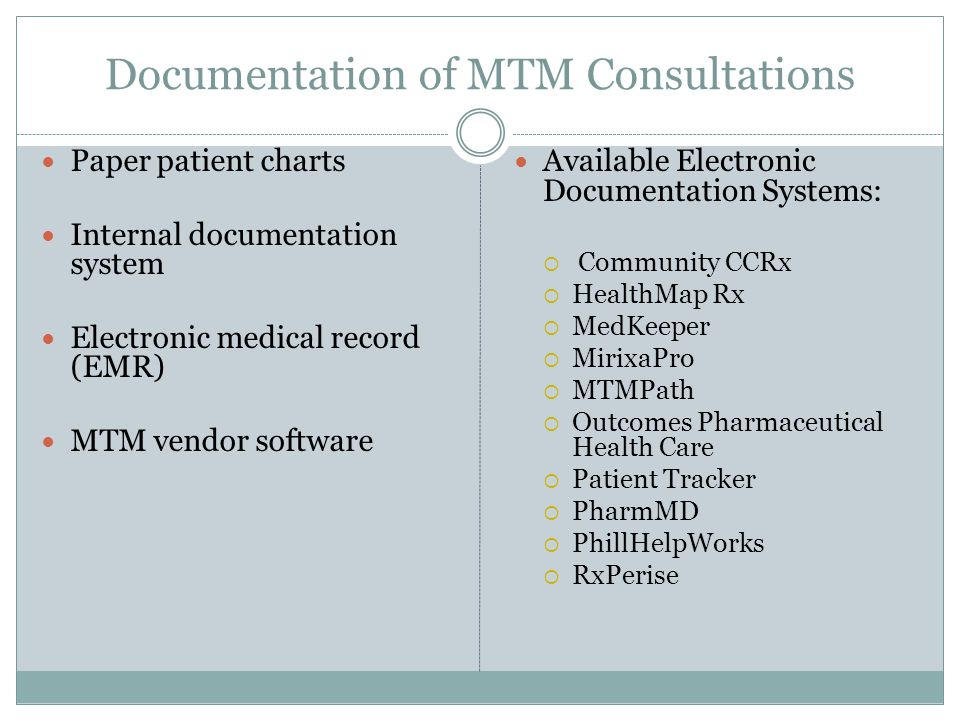 Documentation of MTM Consultations Paper patient charts Internal documentation system Electronic medical record (EMR) MTM vendor software Available El