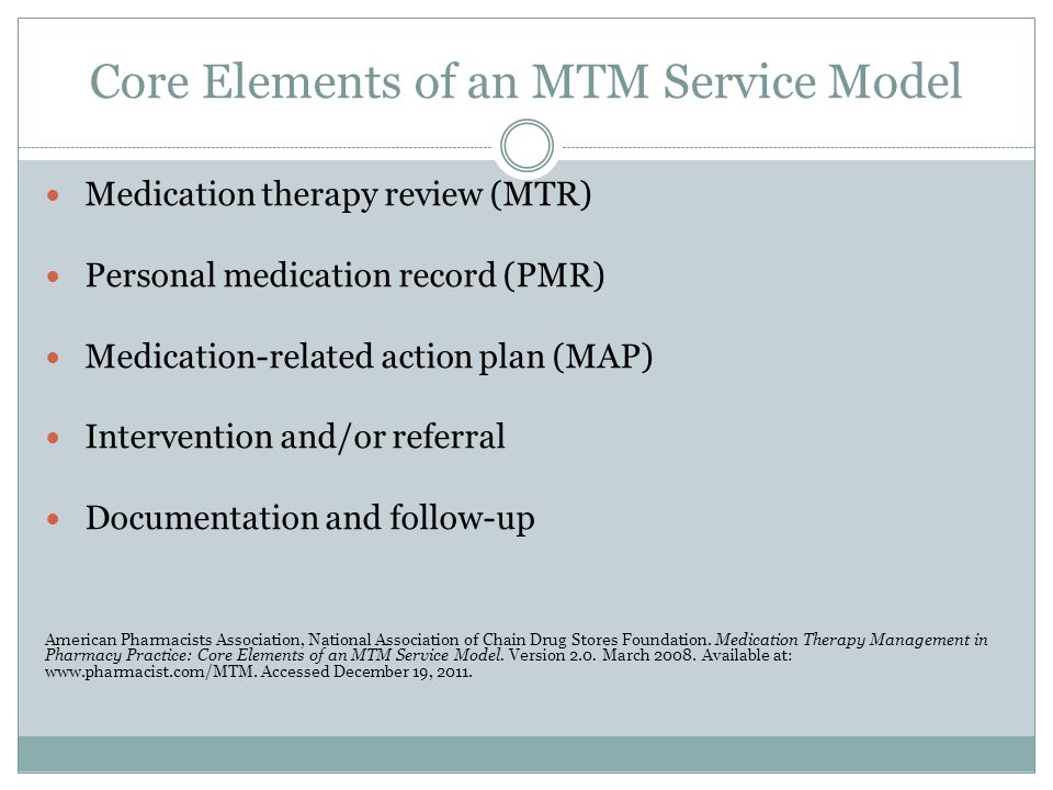 Core Elements of an MTM Service Model Medication therapy review (MTR) Personal medication record (PMR) Medication-related action plan (MAP) Interventi