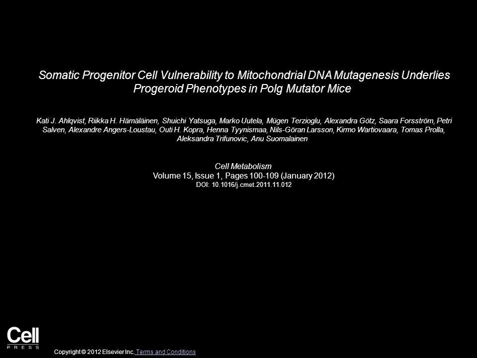 Somatic Progenitor Cell Vulnerability to Mitochondrial DNA Mutagenesis Underlies Progeroid Phenotypes in Polg Mutator Mice Kati J. Ahlqvist, Riikka H.