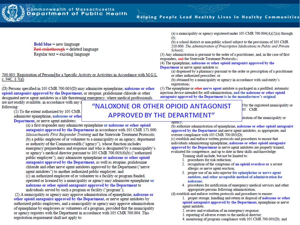 """""""NALOXONE OR OTHER OPIOID ANTAGONIST APPROVED BY THE DEPARTMENT"""""""