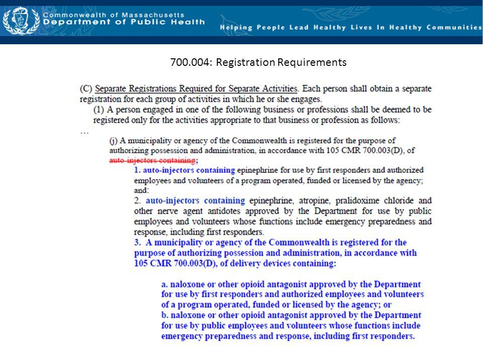 700.004: Registration Requirements