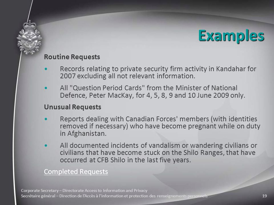 Corporate Secretary – Directorate Access to Information and Privacy Secrétaire général – Direction de l'Accès à l information et protection des renseignements personnels19 Examples Routine Requests Records relating to private security firm activity in Kandahar for 2007 excluding all not relevant information.