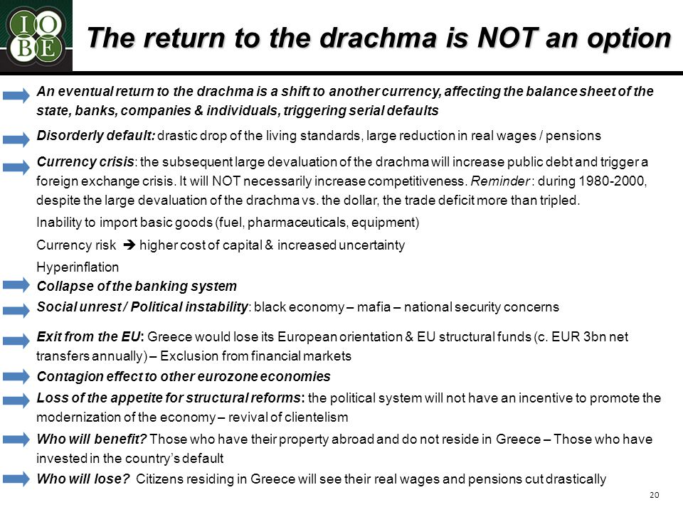 20 The return to the drachma is NOT an option Disorderly default: drastic drop of the living standards, large reduction in real wages / pensions Currency crisis: the subsequent large devaluation of the drachma will increase public debt and trigger a foreign exchange crisis.