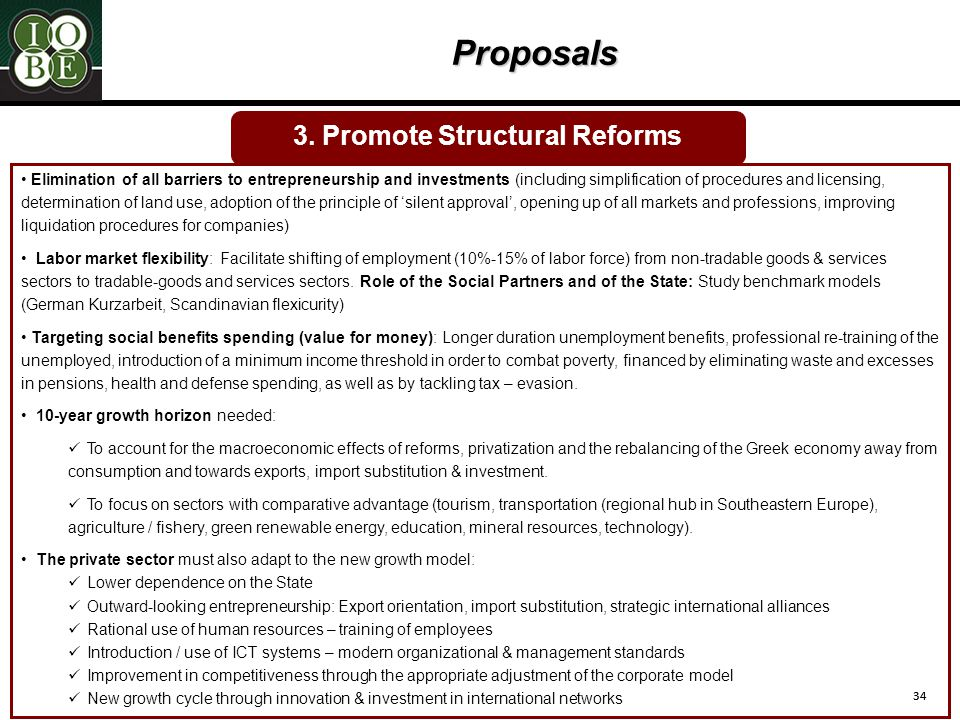 34 Proposals 3. Promote Structural Reforms Elimination of all barriers to entrepreneurship and investments (including simplification of procedures and