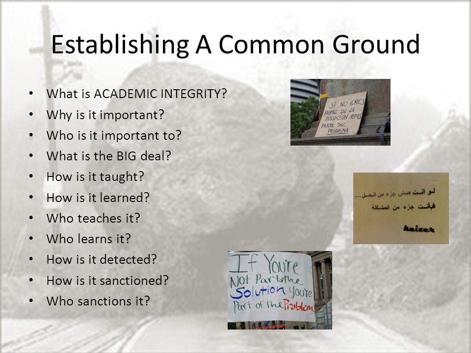 Establishing A Common Ground What is ACADEMIC INTEGRITY.