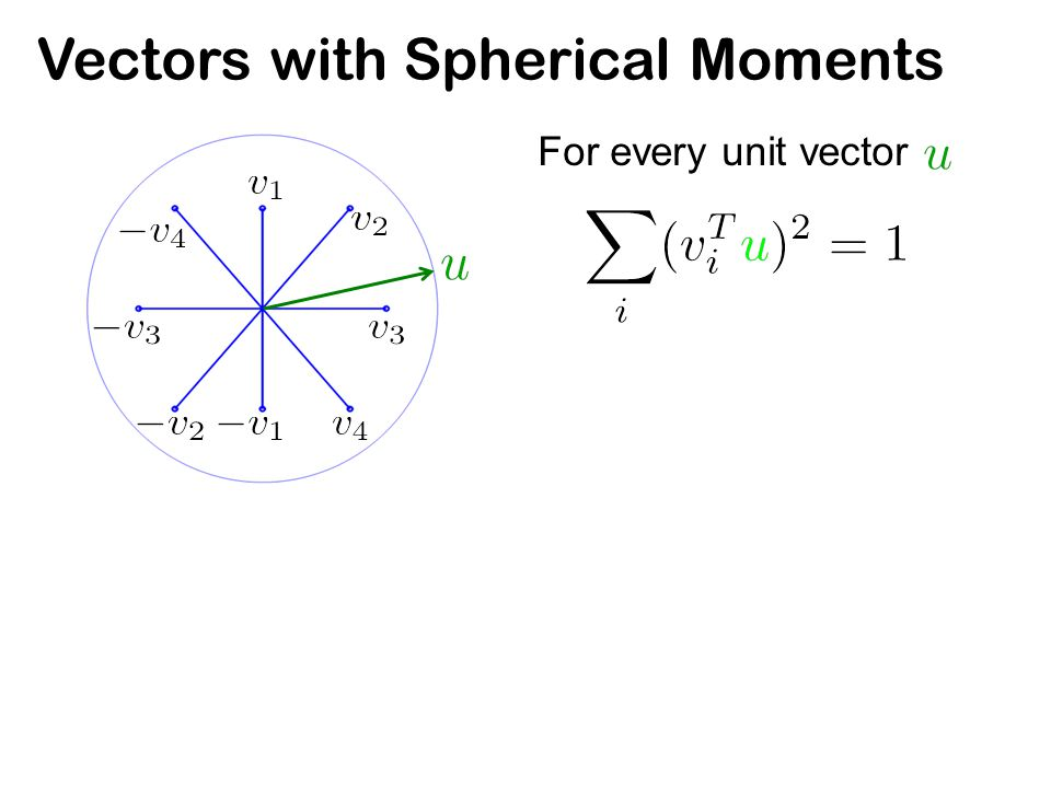 Vectors with Spherical Moments For every unit vector Also called isotropic position