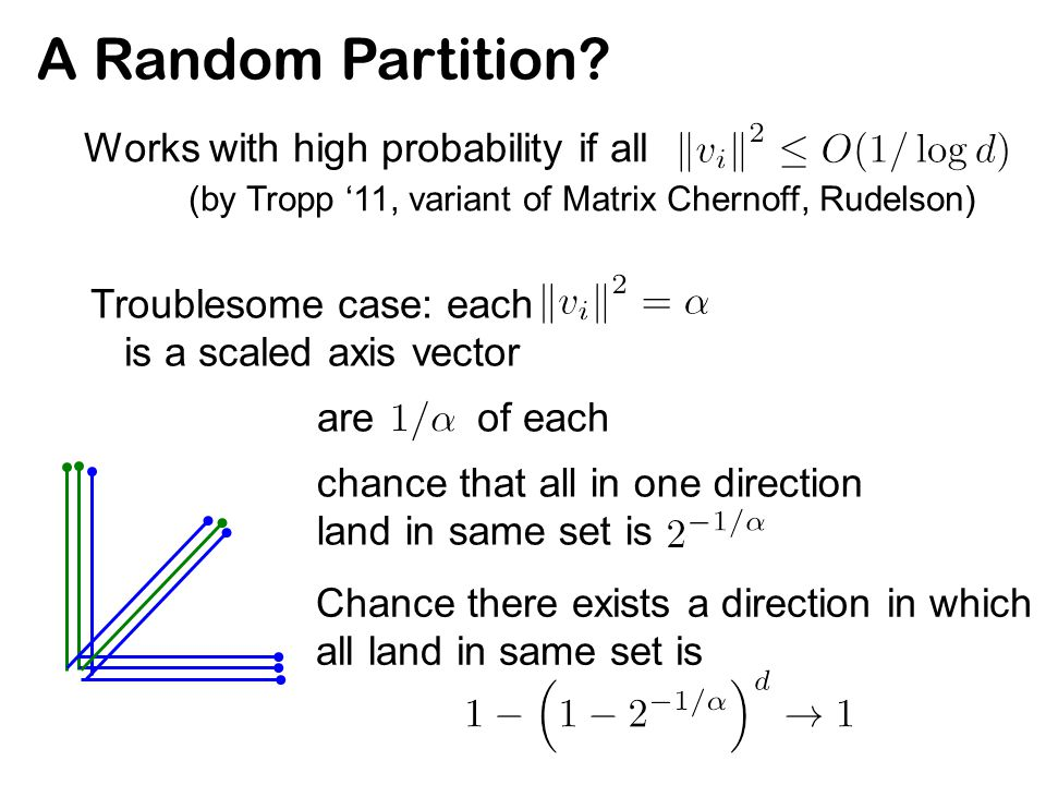 A Random Partition? Works with high probability if all (by Tropp '11, variant of Matrix Chernoff, Rudelson) Troublesome case: each is a scaled axis ve