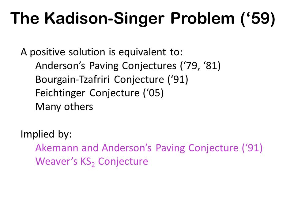 A positive solution is equivalent to: Anderson's Paving Conjectures ('79, '81) Bourgain-Tzafriri Conjecture ('91) Feichtinger Conjecture ('05) Many others Implied by: Akemann and Anderson's Paving Conjecture ('91) Weaver's KS 2 Conjecture The Kadison-Singer Problem ('59)