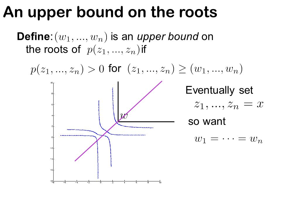 An upper bound on the roots Define: is an upper bound on the roots of if for Eventually set so want