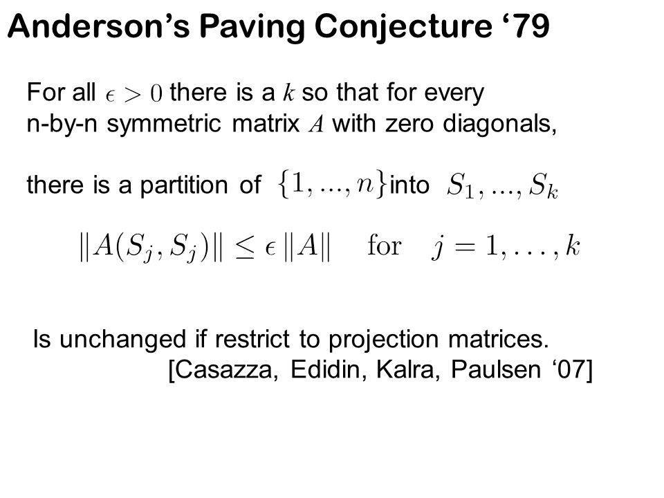 Anderson's Paving Conjecture '79 For all there is a k so that for every n-by-n symmetric matrix A with zero diagonals, there is a partition of into Is unchanged if restrict to projection matrices.
