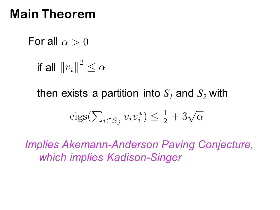 Main Theorem For all if all then exists a partition into S 1 and S 2 with Implies Akemann-Anderson Paving Conjecture, which implies Kadison-Singer