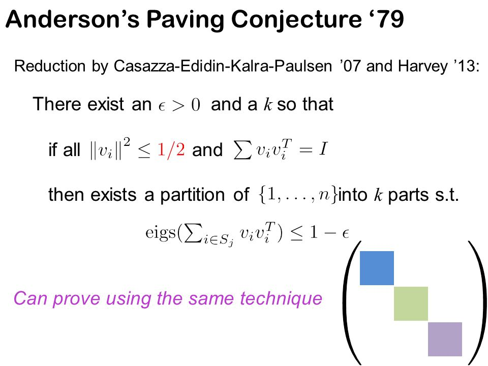 Anderson's Paving Conjecture '79 Reduction by Casazza-Edidin-Kalra-Paulsen '07 and Harvey '13: There exist an and a k so that if all and then exists a partition of into k parts s.t.