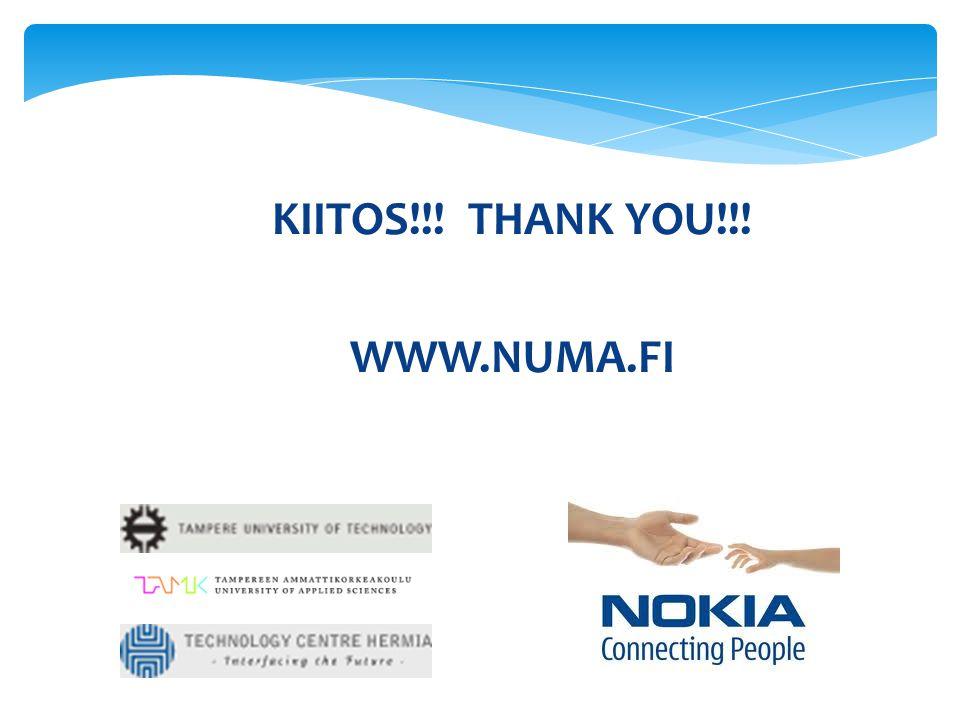 KIITOS!!! THANK YOU!!! WWW.NUMA.FI