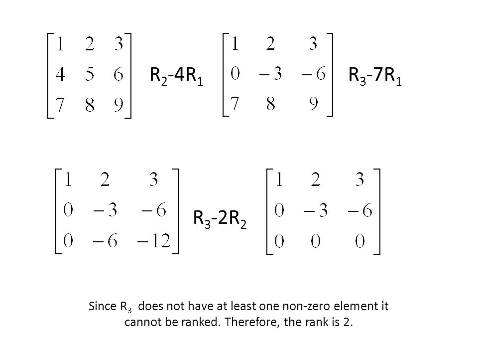 R 2 -4R 1 R 3 -7R 1 R 3 -2R 2 Since R 3 does not have at least one non-zero element it cannot be ranked. Therefore, the rank is 2.