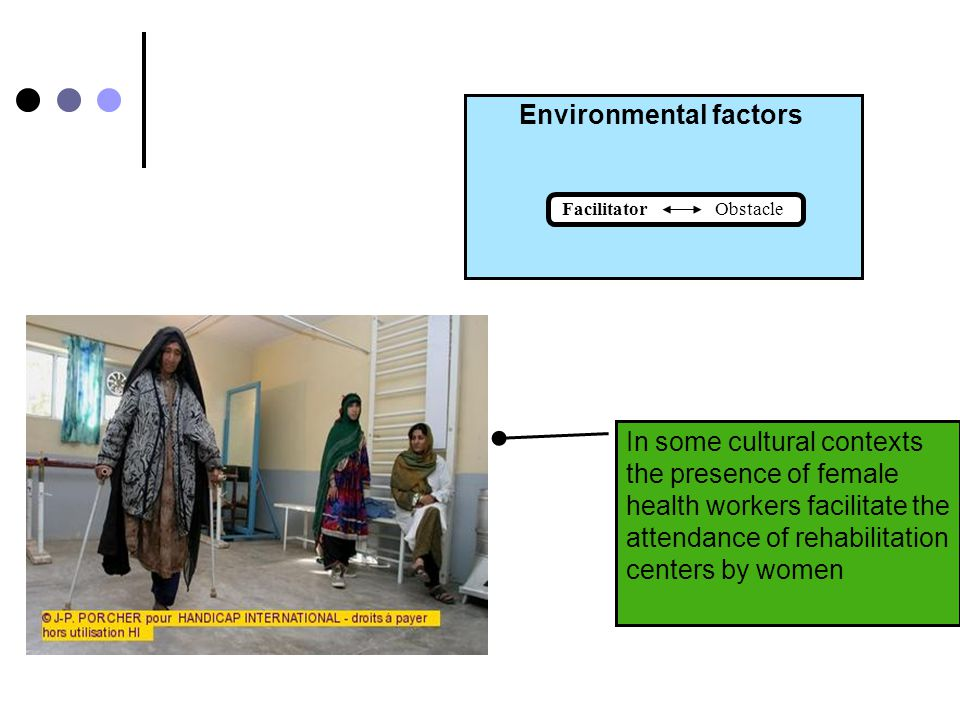 Environmental factors Facilitator Obstacle Some beliefs and cultural perceptions can render women with disabilities ineligible to marriage and motherhood.