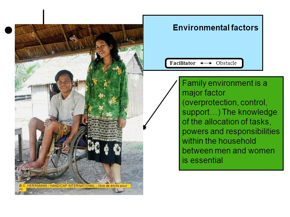 Environmental factors Facilitator Obstacle Family can be a major facilitator