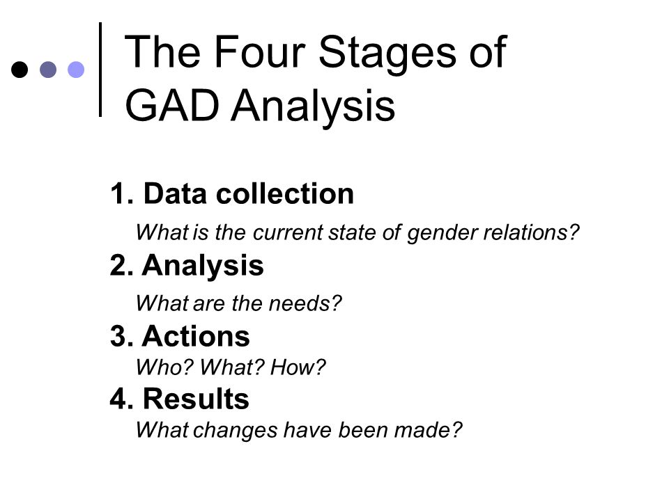 Data generated by GAD analysis Sex-disaggregated data.