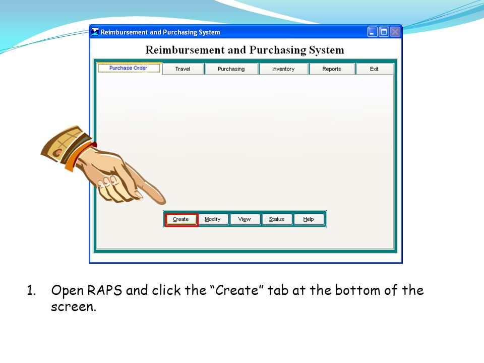 1.Open RAPS and click the Create tab at the bottom of the screen.