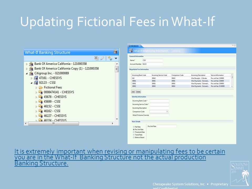 Chesapeake System Solutions, Inc. Proprietary and Confidential Updating Fictional Fees in What-If It is extremely important when revising or manipulat