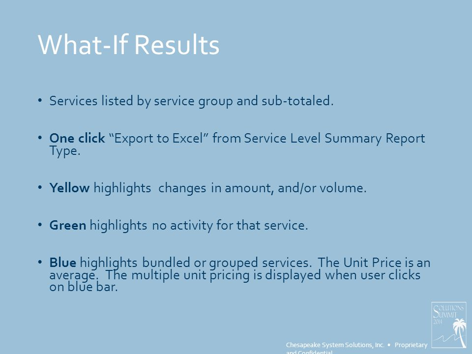 """Chesapeake System Solutions, Inc. Proprietary and Confidential What-If Results Services listed by service group and sub-totaled. One click """"Export to"""