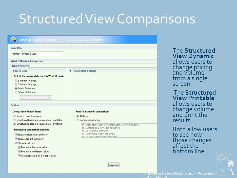 Chesapeake System Solutions, Inc. Proprietary and Confidential Structured View Comparisons The Structured View Dynamic allows users to change pricing