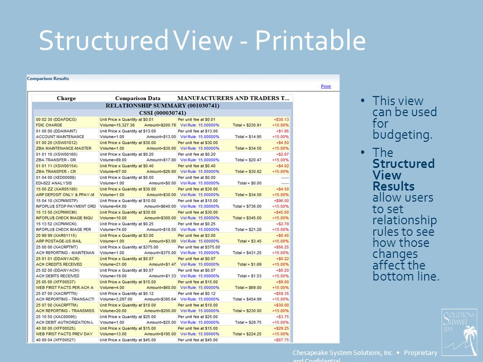 Chesapeake System Solutions, Inc. Proprietary and Confidential Structured View - Printable This view can be used for budgeting. The Structured View Re