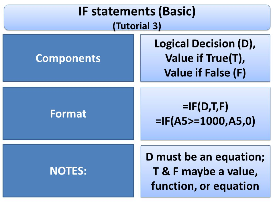 IF statements (Basic) (Tutorial 3) IF statements (Basic) (Tutorial 3) Components Logical Decision (D), Value if True(T), Value if False (F) Logical De