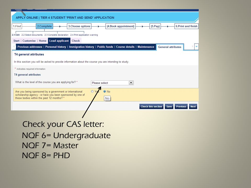 Check your CAS letter: