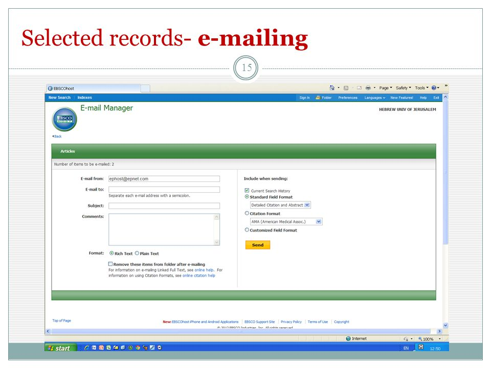 Selected records- e-mailing 15