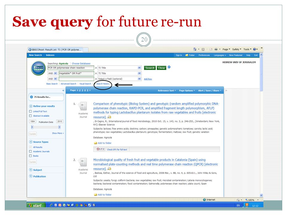 Save query for future re-run 20