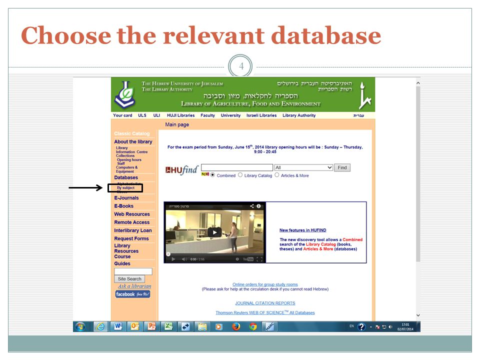 Choose the relevant database 4