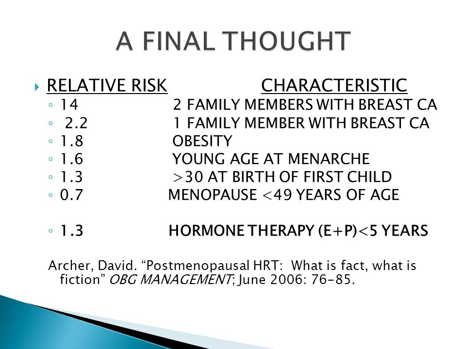  RELATIVE RISKCHARACTERISTIC ◦ 14 2 FAMILY MEMBERS WITH BREAST CA ◦ 2.2 1 FAMILY MEMBER WITH BREAST CA ◦ 1.8 OBESITY ◦ 1.6 YOUNG AGE AT MENARCHE ◦ 1.3 >30 AT BIRTH OF FIRST CHILD ◦ 0.7MENOPAUSE <49 YEARS OF AGE ◦ 1.3 HORMONE THERAPY (E+P)<5 YEARS Archer, David.