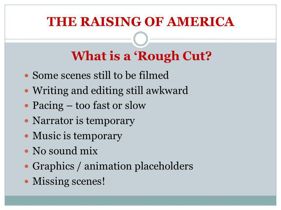 THE RAISING OF AMERICA What is a 'Rough Cut.