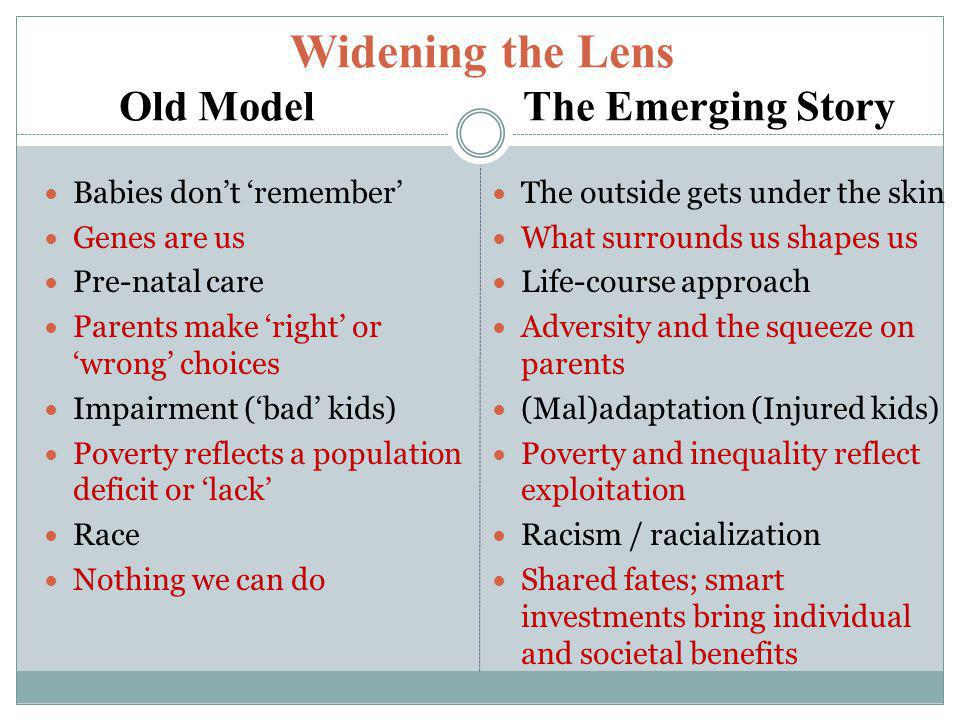 Widening the Lens The larger social ecology of human development If early experiences and environments literally shape the architecture of the developing brain, then… What shapes those environments.